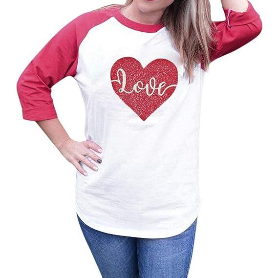 Camiseta Mujer 2018 Blusa de Love Heart Printing Sueltos Camisas Elegantes Casual sólida Ocasionales de Cuello Redondo Moda Blusas Tops Mujeres: Amazon.es: ...