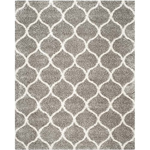 - Safavieh Hudson Shag Collection SGH280B Grey and Ivory Moroccan Ogee Plush Area Rug (8' x 10')