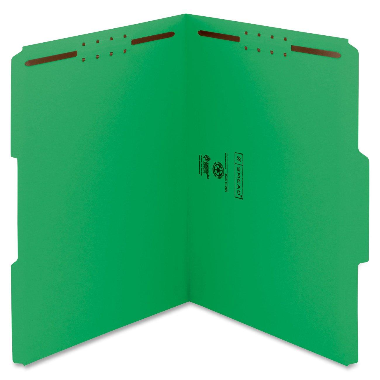 Smead Fastener File Folder, 2 Fasteners, Reinforced 1/3-Cut Tab, Letter Size, Green, 50 per Box (12140)