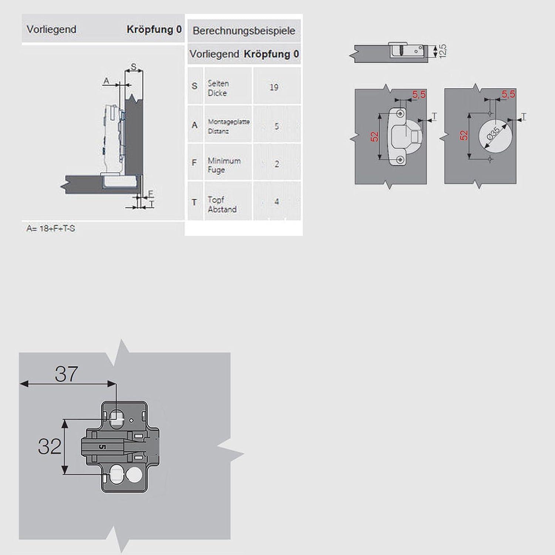 SO-TECH/® Impro T52 Charni/ère montage porte en applique 110/° non amortie avec plaque de montage /à r/églage excentrique
