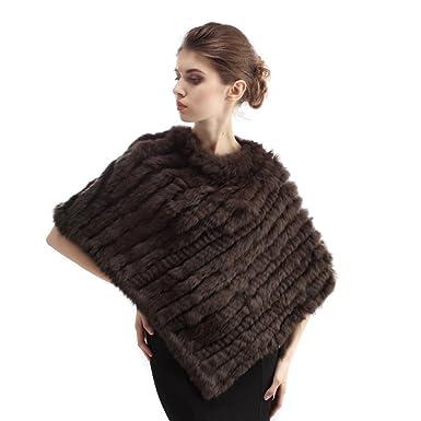 4c33677e5f709a CharmantFur Kaffee Braun Echt Fell Pelz Poncho Cape Umhang für Frauen Damen  Winter Modisch Warm Weich