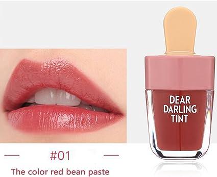 Tinte de labios en forma de helado suave de larga duración, cremoso y frutal, bonito brillo de labios