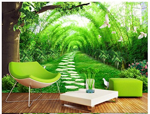 3D Wallpaper Mural  Fresh Bamboo Road TV Background Wall  Silk Cloth Material Ayzr ()