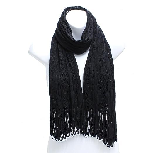 Ll Womens Winter Scarf Crochet Knit Tube Scarf Fringe Fashion