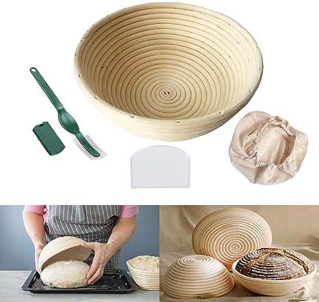 Juvale Banneton Proofing Basket Set 11-Piece Brotform Bread Dough Rising Baking Kit and 8 Different Xmas Themed Stencils Includes Round Rattan Basket Cotton Liner Cloth Dough Scraper