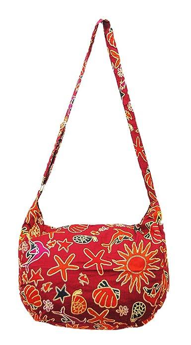 Amazon.com  Thai Hippie Hobo Adjustable Strap Crossbody Shoulder Banana Bag  Purse Handmade Zip Mix Pattern Cotton Gypsy Boho Messenger Large (X011)   Shoes e7c473f85746d