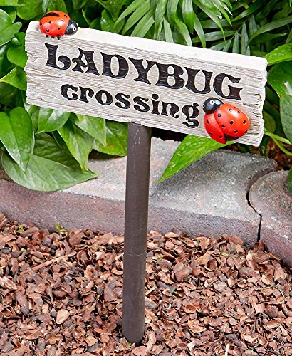 The Lakeside Collection Ladybug Crossing Sign - Garden Decoration for Vegatable and Flower Beds