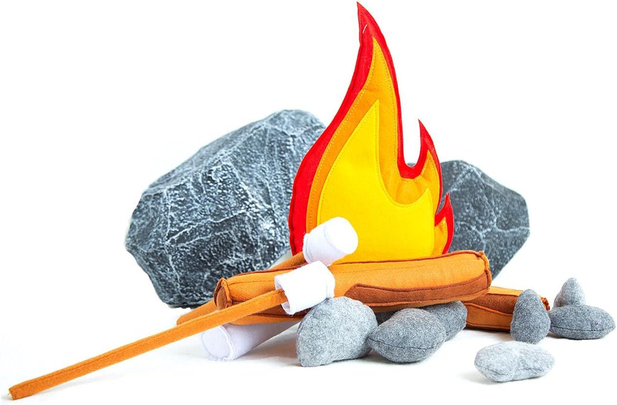 Kids Felt Campfire Plush Toy,Pretend Play Felt Campfire Toy,Multicolor Photo Prop Indoor Camping Theme Play Teepee Decor Adventure Home Decor Fire Pillow Nursery Decor