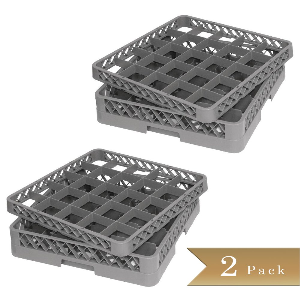 Set of 2 - TrueCraftware - Commercial 25 Compartment Gray Stemware and Glass Rack Base and Extender - Double Deck - Dishwasher Rack - 20'' x 20'' x 5 3/4'' (4 Piece set)