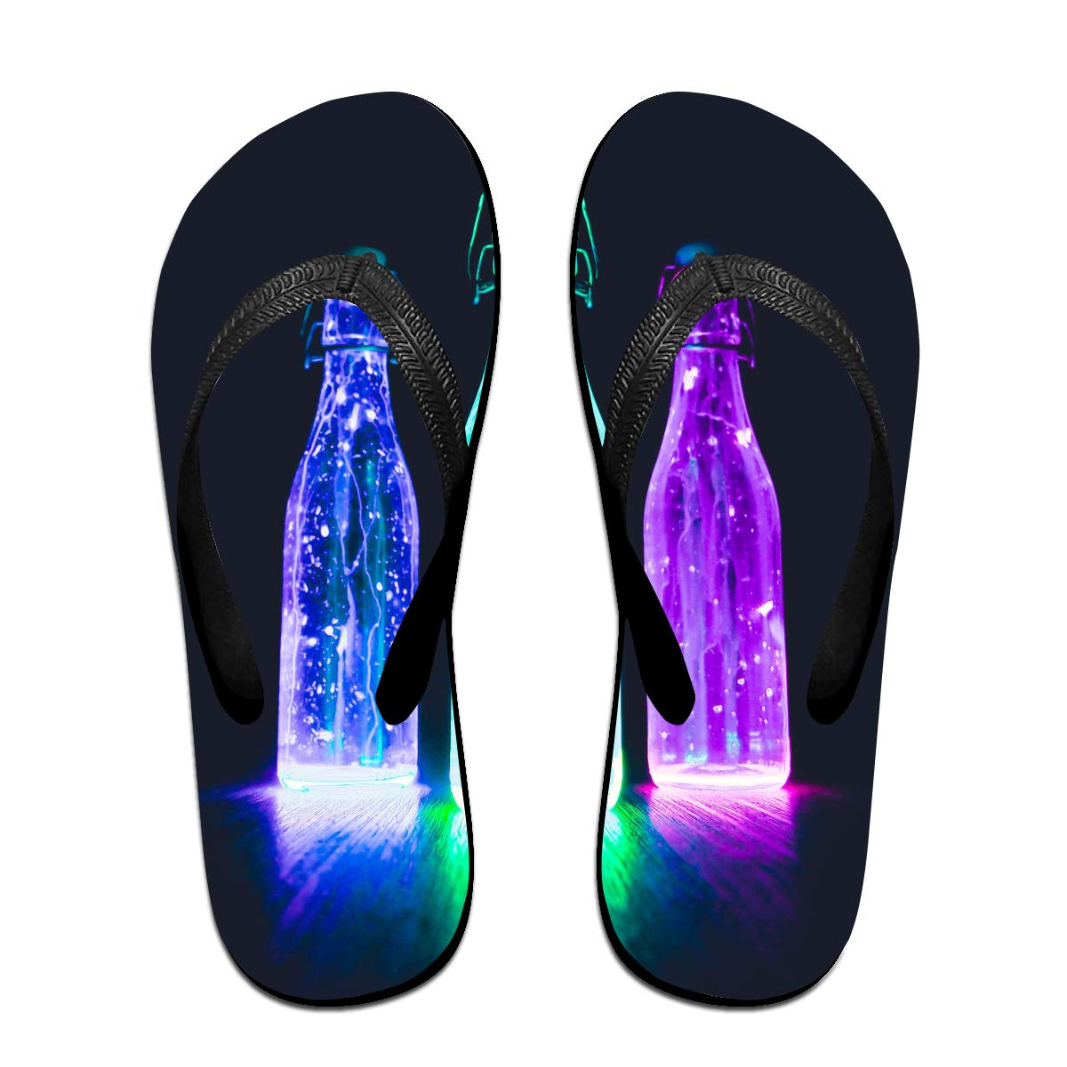 Couple Slipper Light Color Water Glass Print Flip Flops Unisex Chic Sandals Rubber Non-Slip House Thong Slippers