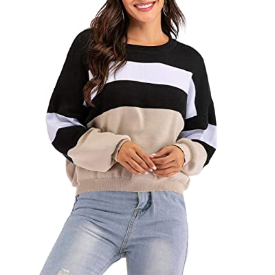 Women's Cool Knit Long Sleeves Cropped Sweater Top 216 (Black+Grey, S) at Women's Clothing store
