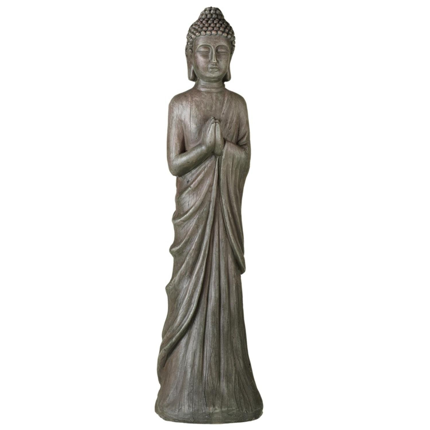 Diva At Home 32'' Distressed Gray-Black Decorative Standing Buddha Table Top Statue by Diva At Home