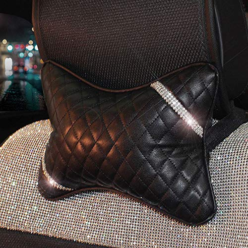 U&M Bling Bling Car Seat Neck Rest Pillow Luster Crystal Headrest Head Support Diamond Car Decor Accessories (Style 2)