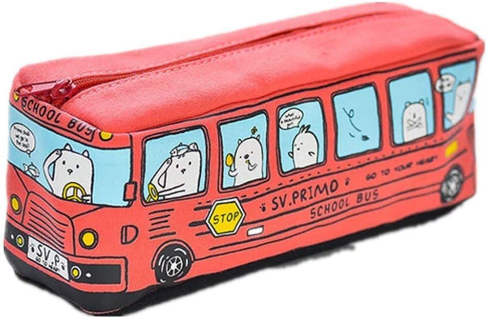 L/ápiz bolsa ni/ños escuela autob/ús l/ápiz caso gran capacidad estudiantes dibujos animados l/ápiz titular bolsa lona cremallera bus l/ápiz casos rojo