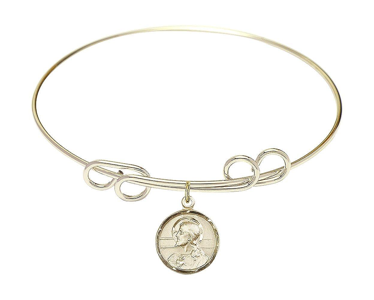 Bonyak Jewelry Round Double Loop Bangle Bracelet w//Scapular in Gold-Filled
