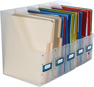 Home-X Clear File Holder Organizers for Magazines or Documents (Set of 5)