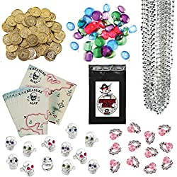 240 Pc Pirate Loot Party Favor Pack (144 Pirate Gold Coins, 36 Pirate Jewels, 24 Treasure Maps, 12 Pink Diamond Rings, 12 Pirate Skull Rings, & 12 Silver Bead Necklaces)
