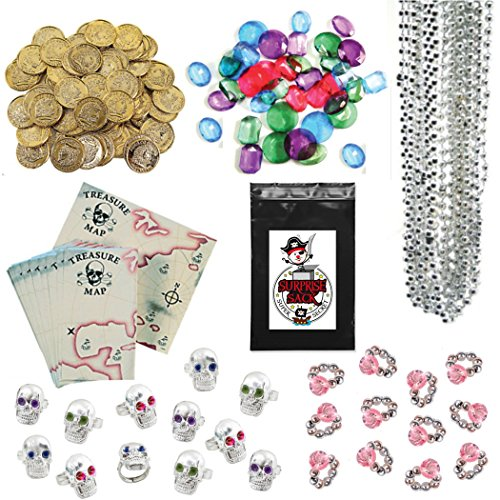 240 Pc Pirate Loot Party Favor Pack (144 Pirate Gold Coins, 36 Pirate Jewels, 24 Treasure Maps, 12 Pink Diamond Rings, 12 Pirate Skull Rings, & 12 Silver Bead Necklaces) - Gold Coins Party Favors
