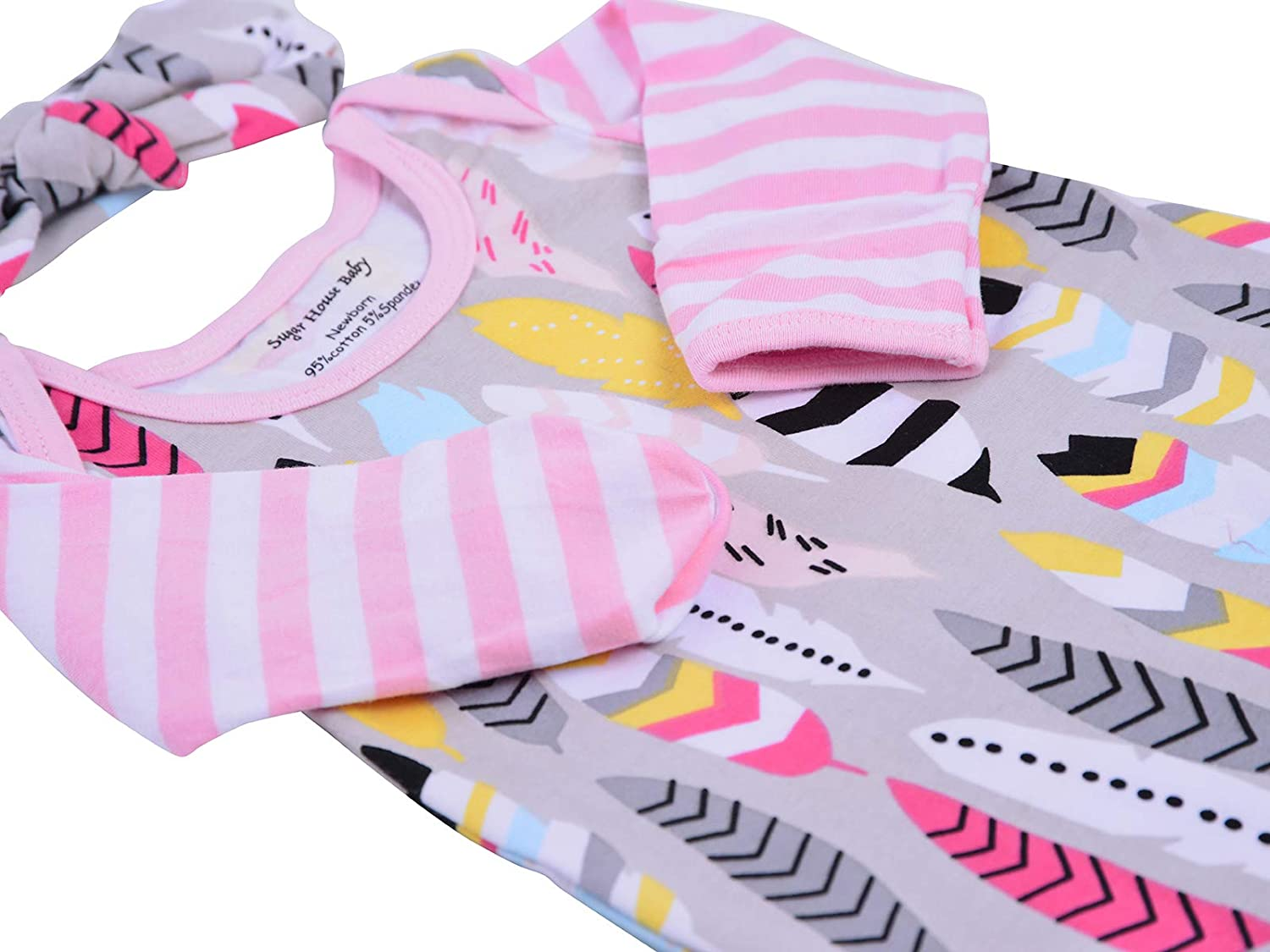 65a767b1e45c Infant Baby Tie Nightgown and Matching Hat