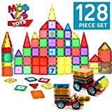 Toys : Magnetic Blocks 128 Piece Set - Magnetic Tiles for Kids, With Strong Metallic Rivets - 3D Various Magnetic Shapes that Build – TWO Magnet Car-Wheels & Click-in Numbers BONUS, Plus Storage Bag