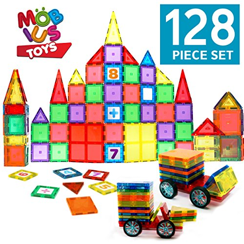 Magnetic Blocks 128 Piece Set - Magnetic Tiles for Kids, with Strong Metallic Rivets - 3D Various Magnetic Shapes That Build – Two Magnet Car-Wheels & Click-in Numbers Bonus, Plus Storage Bag