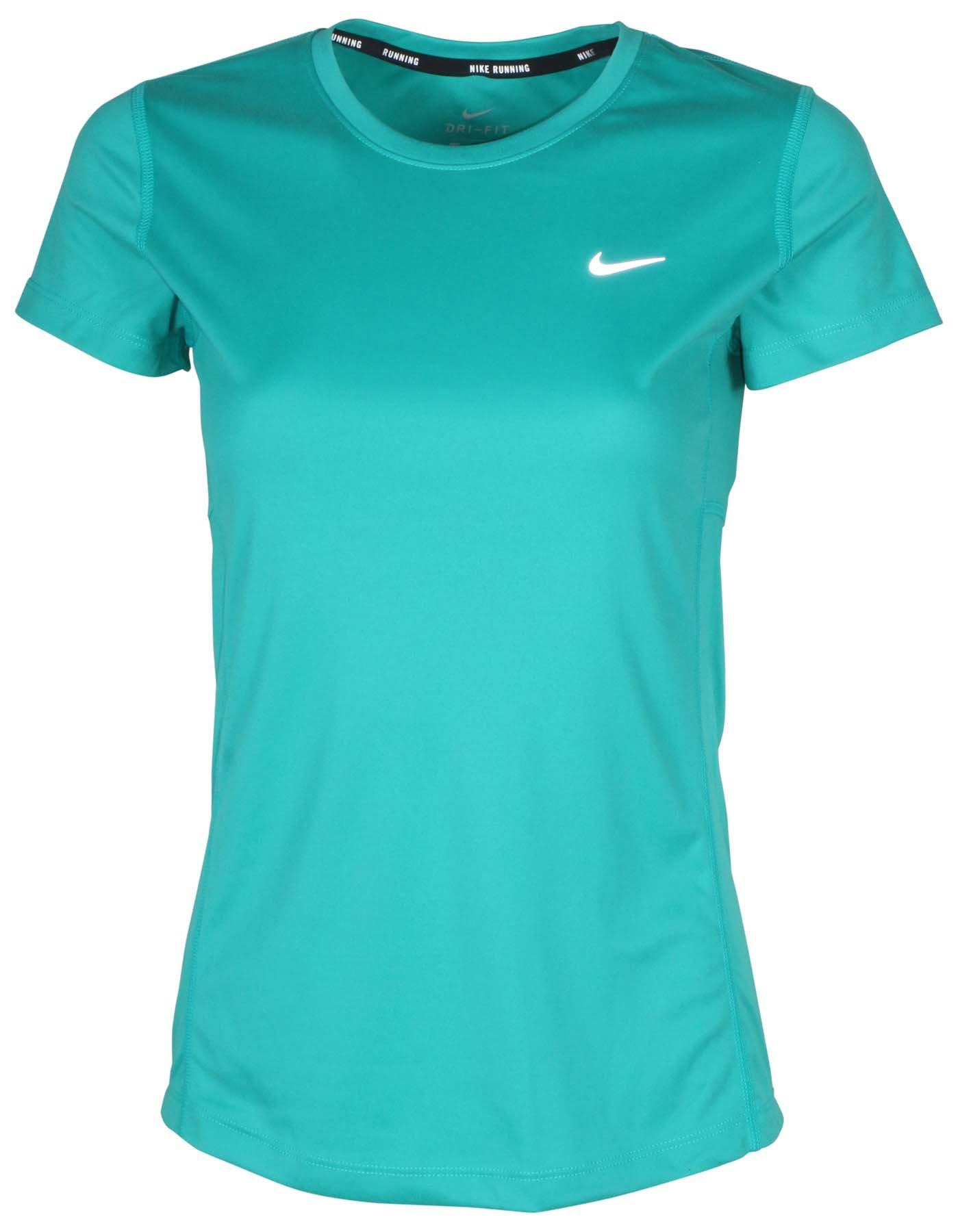 Nike Women's Dri-Fit Miler Running Top-Teal-Medium