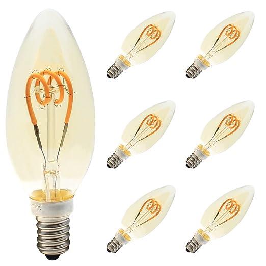Retro Edison Bombilla 3 W E14 LED Vintage lámpara antigua bombillas decorativa filamento led flexible Dimmable