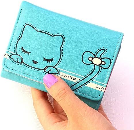 WZV Short Girl Monedero Cartoon Lady Cute Money Clip Card Pack Estudiante Monedero Monedero ,A Blue: Amazon.es: Deportes y aire libre