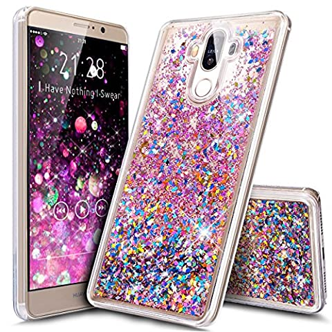 Huawei Mate 9 Case,ikasus Huawei Mate 9 [Liquid Glitter] Case,Creative Design Quicksand Dynamic Flowing Liquid Floating Bling Glitter Sparkle Diamond Clear Hard Case for Huawei Mate 9,Colorful Red - Mate Strumento