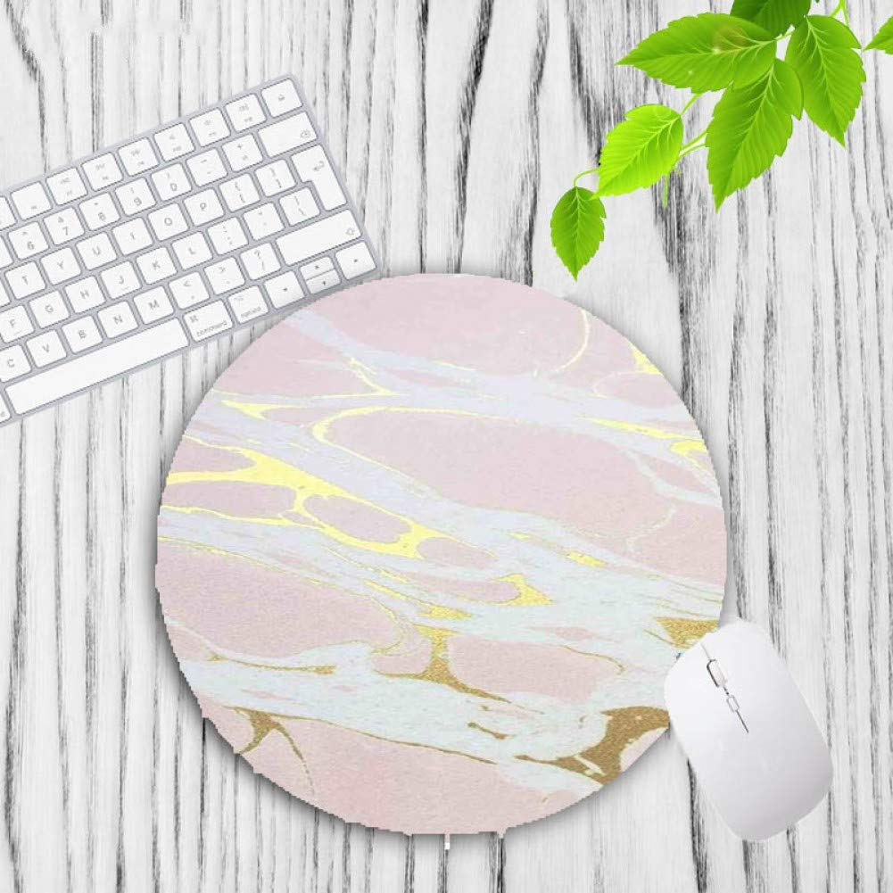 IXNSZ Mouse Pad Design Modern Faux Gold Glitter Marble Unique Desktop Pad Mousepads Computer Animation Round Mouse Mat Round Mice Pad by IXNSZ