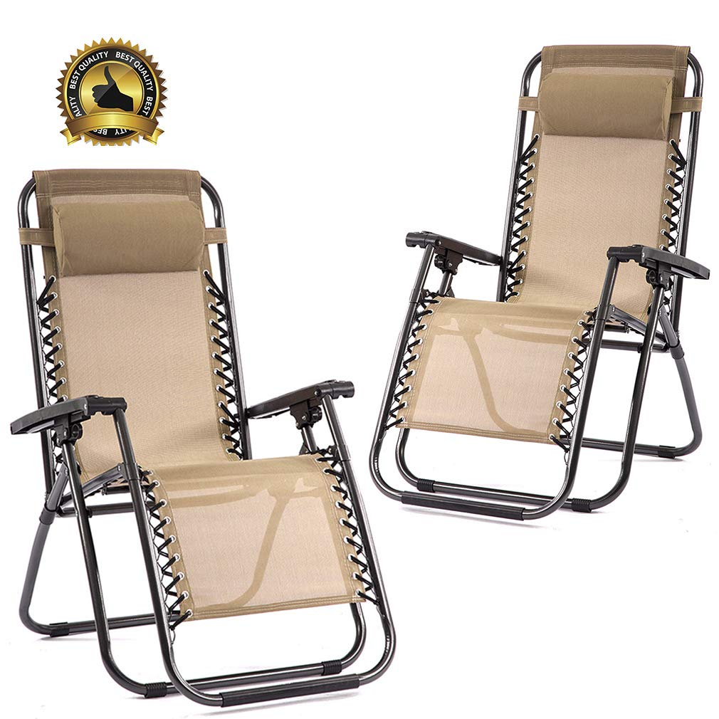FDW Set of 2 Zero Gravity Chairs Lounge Patio Chairs Outdoor Yard Beach (Tan) by FDW (Image #1)