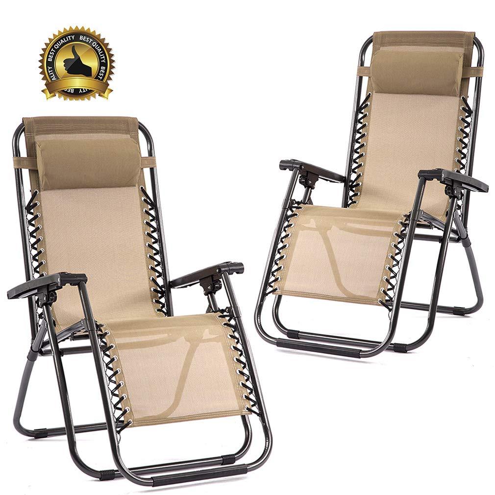 FDW Set of 2 Zero Gravity Chairs Lounge Patio Chairs Outdoor Yard Beach (Tan)