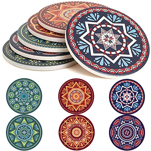 ENKORE Absorbent Coasters For Drinks - 6 Pretty Mandala Patterns on Big Ceramic Stones with Cork Back, Use as Elegant Home Decor and Save Your Furniture From Damage By Water Stain And Marks, No Holder (Quit Job To Be Stay At Home Dad)