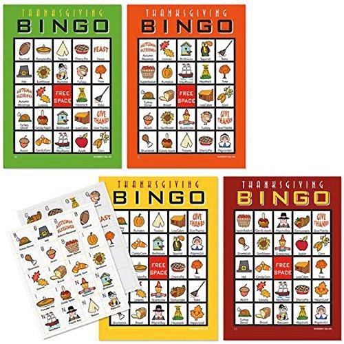 Thanksgiving Bingo Game for 20 players (BrightandBold)