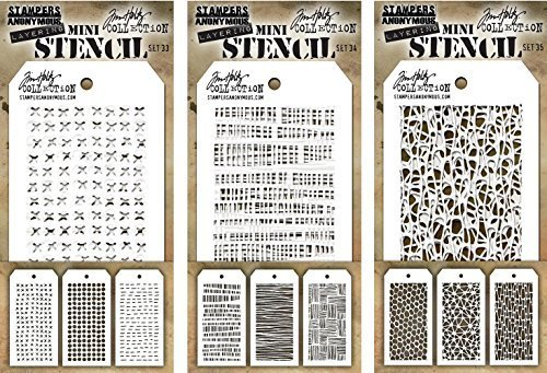 Tim Holtz - Nine Mini Stencils - NEW for Spring 2018 - Stitched, Dotted, Dashes, Code, String, Thatched, Hive, Organic, and Cells - aka sets 33, 34 & 35 by Stampers Anonymous