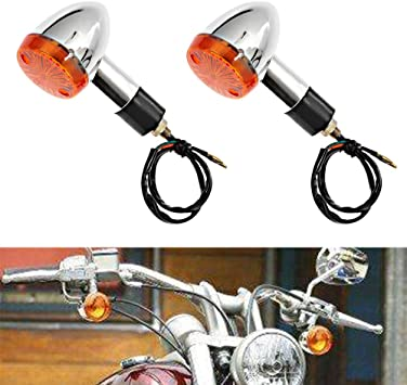 2PCS Amber Chrome Bullet Turn Signal LED Light Indicators Blinkers Motorcycle US