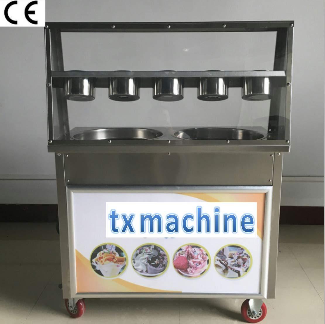 Amazon.com: TX® máquina de helado frito comercial 2 sartenes ...