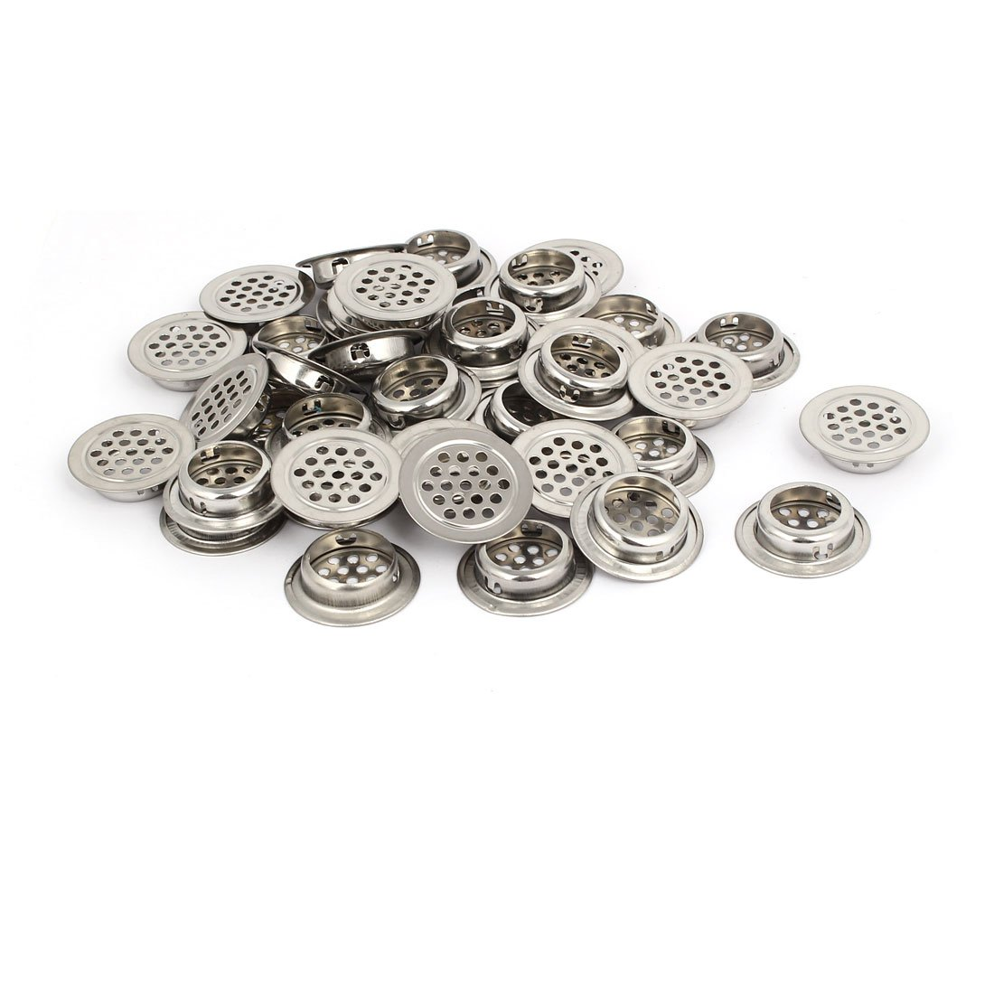 uxcell 25mm Bottom Dia Stainless Steel Round Shaped Mesh Hole Air Vent Louver 40pcs