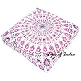 Eyes of India - 35'' Large White Pink Blue Mandala Square Floor Meditation Pillow Cover Pouf Cushion Hippie Bohemian Indian Boho Seating dog bedCover Only