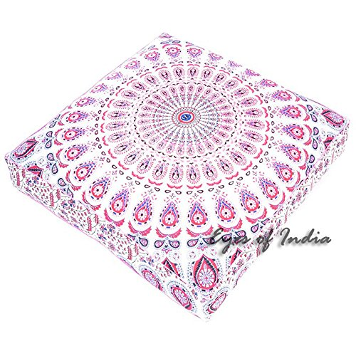 Eyes of India - 35'' Large White Pink Blue Mandala Square Floor Meditation Pillow Cover Pouf Cushion Hippie Bohemian Indian Boho Seating dog bedCover Only by Eyes of India
