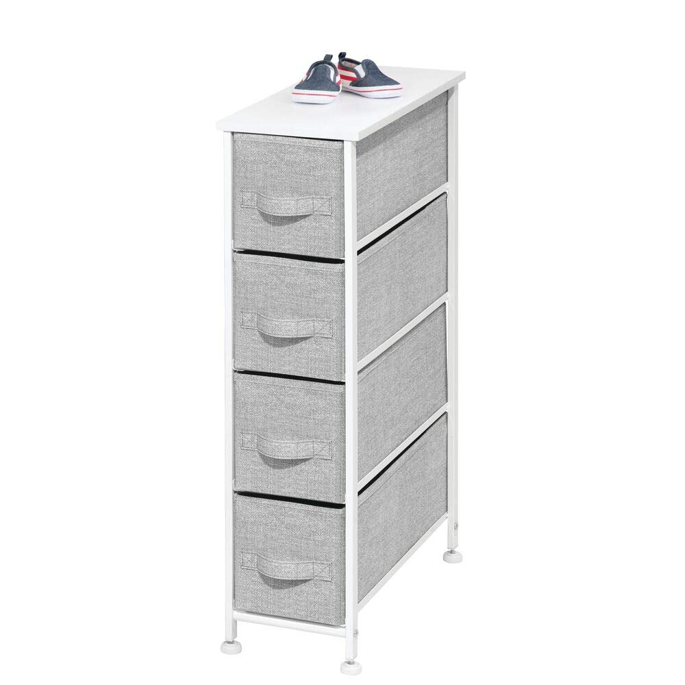 mDesign Cómoda de tela – Práctico organizador de armarios con 4 cajones – Sistema de almacenamiento estrecho para el dormitorio, el baño o la ...