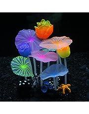 SLOME Aquarium Glowing Lotus Decorations - Fish Tank Decoration Silicone Ornament, Eco-Friendly for Freshwater Saltwater Aquarium Betta Fish Decorations