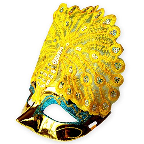 Face mask Shield Veil Guard Screen Domino False Front Halloween mask Venice Princess Makeup Dance Party Half face Peacock mask Yellow