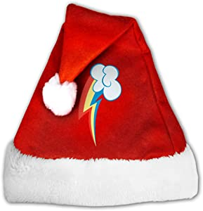 Rainbow Dash Christmas Santa Hat for Adults, Traditional Red and White Plush Velvet Party Hat