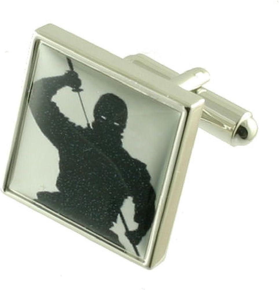 Japonés Ninja funda pesada sólida plata de ley 925 gemelos + caja ...