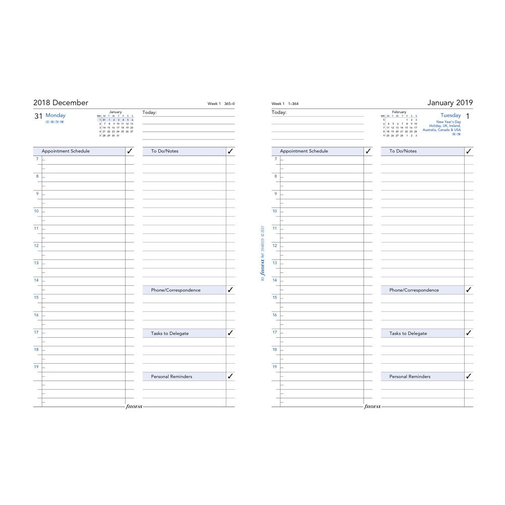 Filofax 2019 A5 Daily Business Style Refill, English, 8.25 x 5.75 inches (C68519-19)