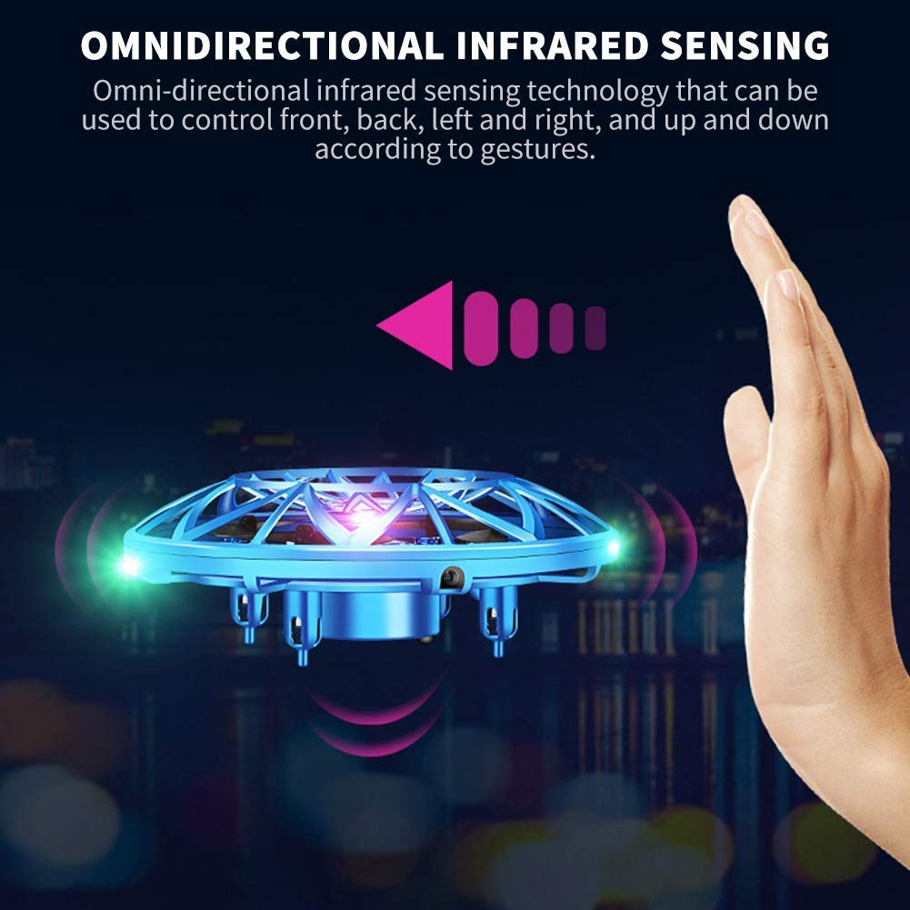 VENAS Flying Ball Toy Drones, Hand-Controlled Drone Quadcopter Flying Toys Interactive Infrared Induction Helicopter Ball with 360°Rotating and Flashing LED Lights for Boys and Girls Kids Gifts by VENAS