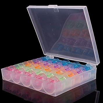 25 Grids Caja de máquina de coser de plástico transparente bobinas ...