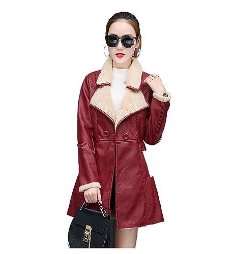 Abrigo de cuero de chaqueta de invierno de mujer Espesar abrigo de cuero de oveja de piel de abrigo ...