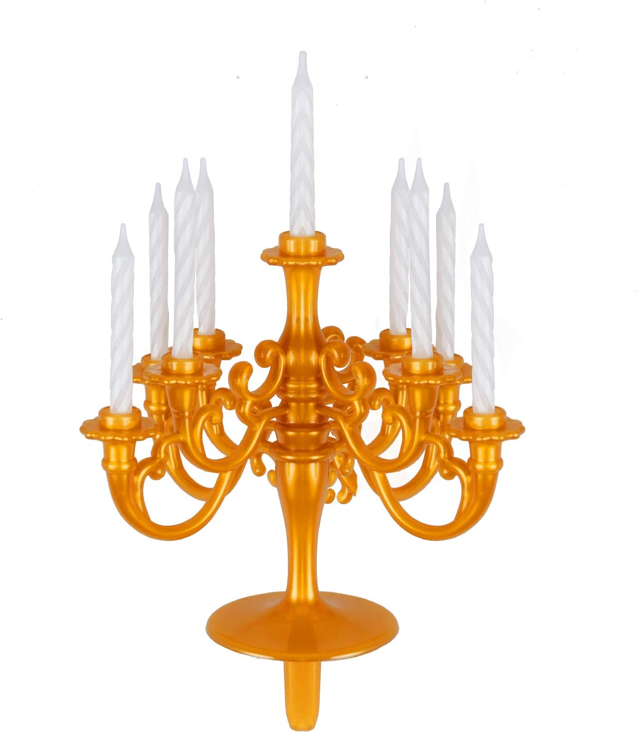 Modern Candlestick Holder, Tall Candle Stand for Wedding, Ceremony, Party, Birthdays, Cake Topper, Plastic Candelabra 9- Pc Threaded Candlestick Holder (Gold-V2)
